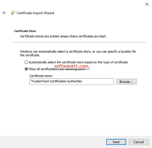 windows 10 certificate import store certificate in trusted root certification authorities