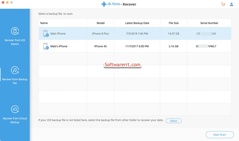 iPhone data recovery scan iTunes backup file