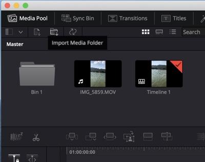 import media folder to Davinci Resolve on Mac
