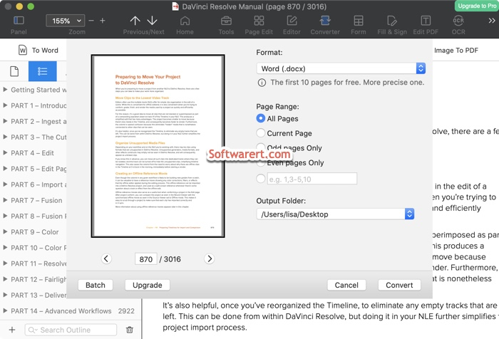 convert pdf to word .docx for free using PDF Reader Pro for Mac lite version