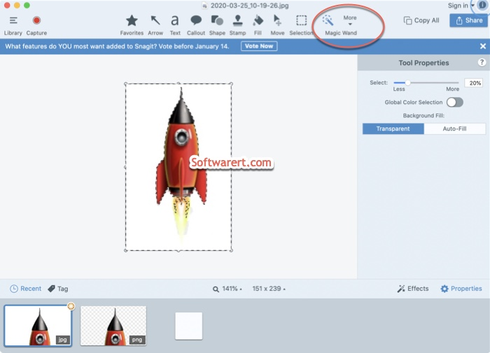 delete image backgroud using magic wand tool with snagit editor on mac