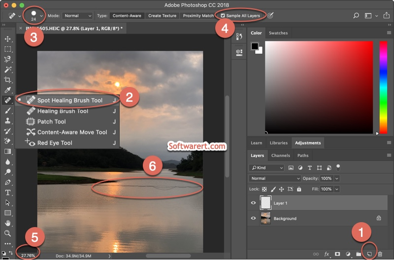 Erase power lines, telephone wires from photos using Photoshop for Mac