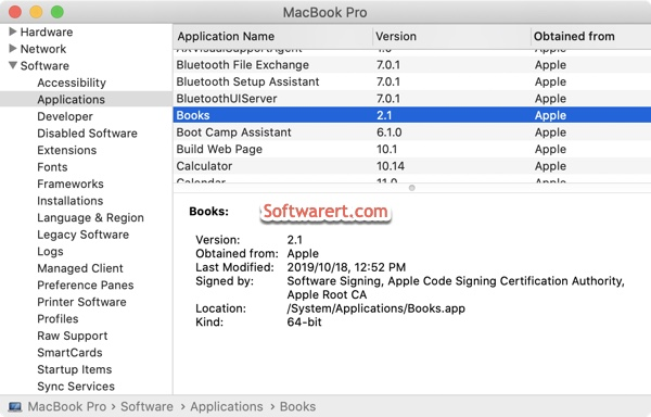 find app details on Mac from system report