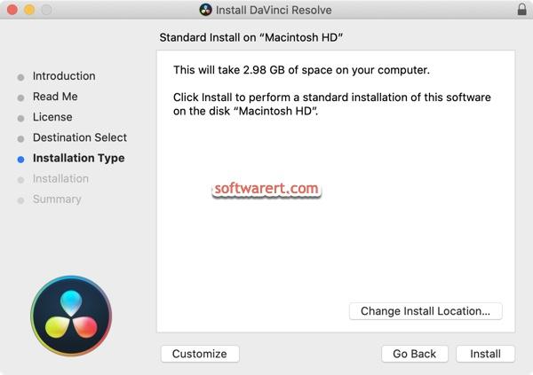 install davinci resolve Mac installer installation type