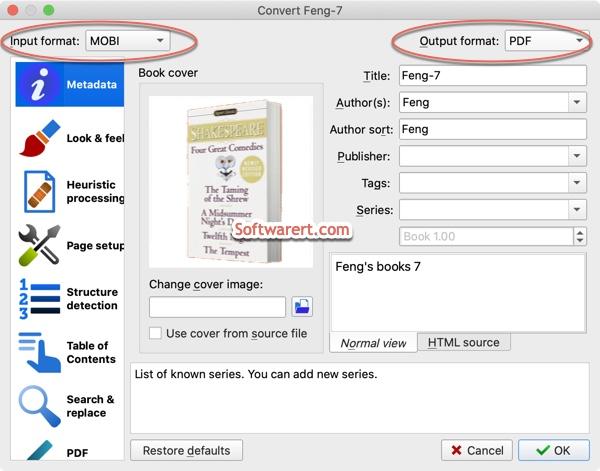 convert mobi books to pdf calibre mac
