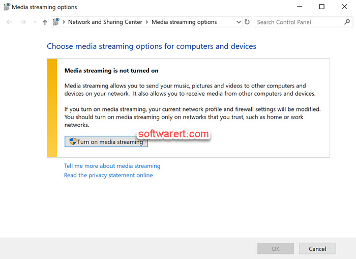 turn on media streaming from control panel media streaming options windows 10 computer