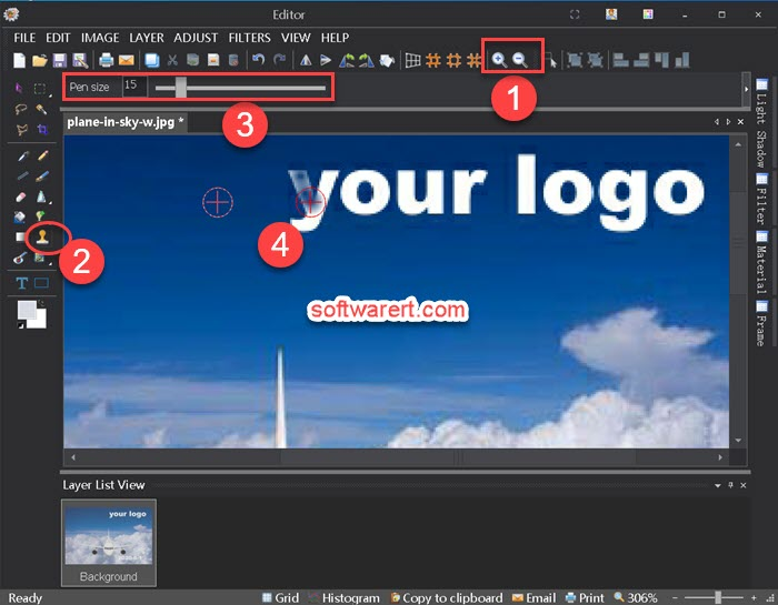 Delete logo, watermark, text from images using Clone Stamp with Picosmos for windows