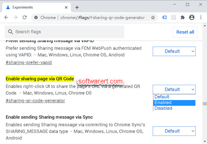 enable web page sharing via qr code chrome web browser