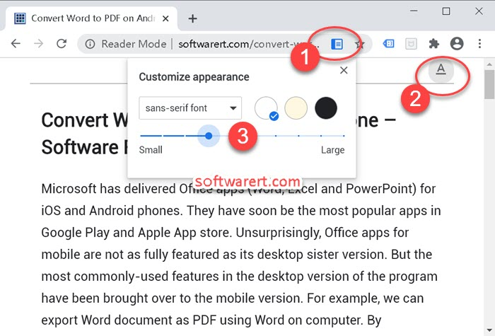 toggle reader mode on web page in google chrome web browser for windows