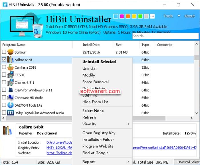 HiBit Uninstaller to uninstall programs on Windows computer