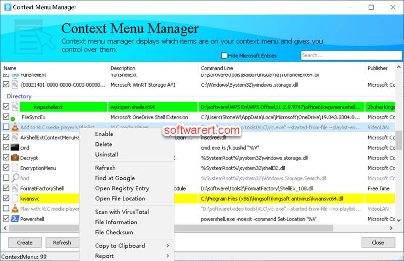 HiBit Uninstaller free Context Menu Manager for Windows