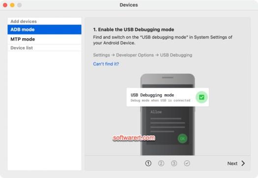 MacDroid add devices via ADB mode