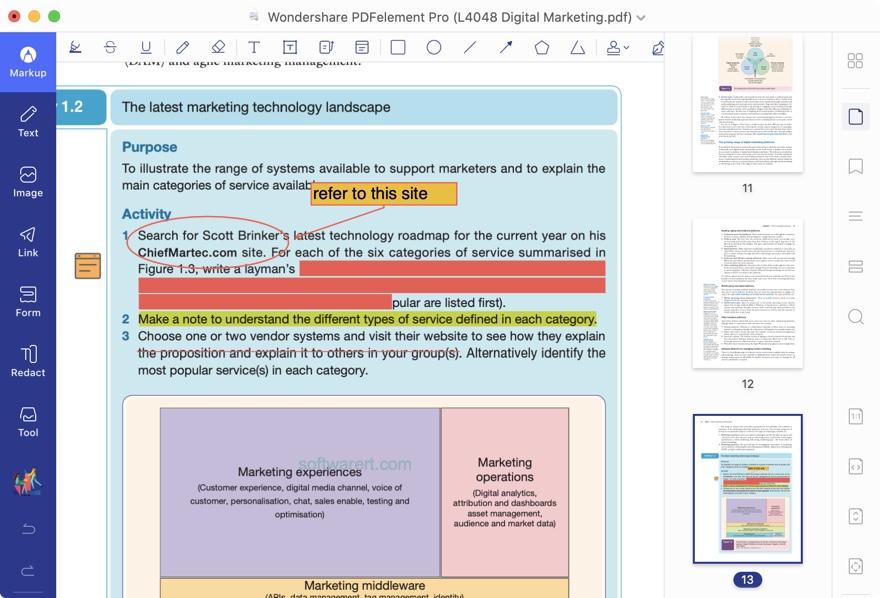 pdfelement pro for Mac markup pdf