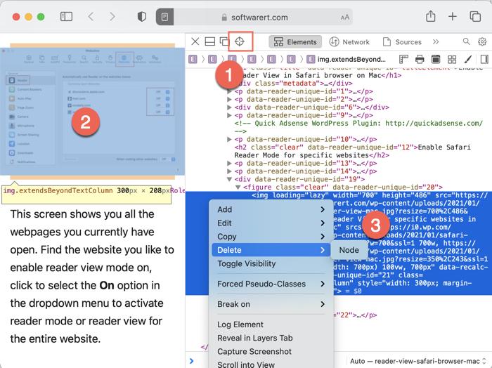 select, hide, delete image from web page inspect element safari mac