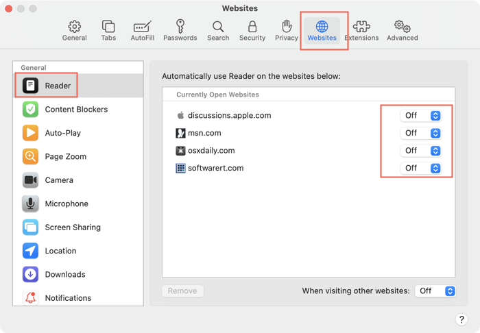 Enable Reader View for specific websites in Safari browser on Mac