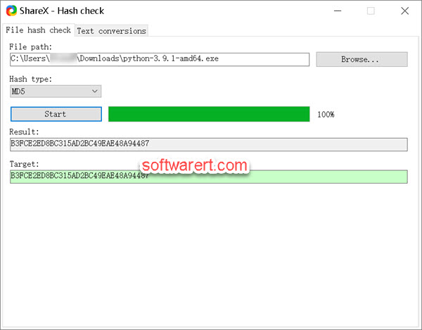 check MD5 Sum on Windows 10 computer using ShareX free Hash Check