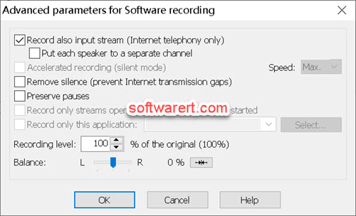 total recorder for windows - advanced parameters for software recording - record also input stream (Internet telephony only)