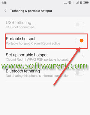 activate portable hotspot on xiaomi redmi phones