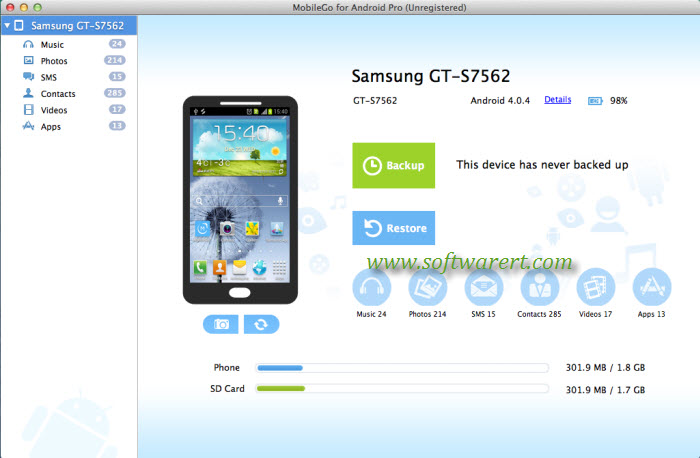 Android Manager Mobilego For Mac Home Screen