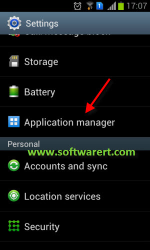 open application manager in settings on android