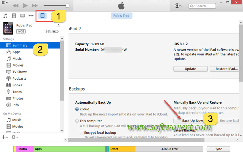 Backup and Restore iPad in iTunes