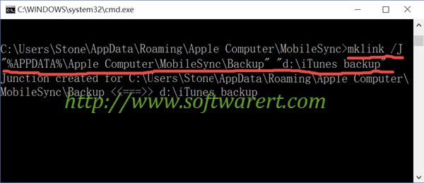change itunes backup folder to another drive and folder in windows command prompt