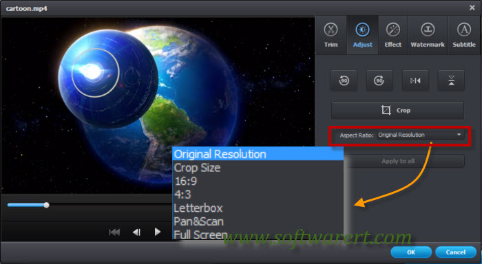change video aspect ratio on computer