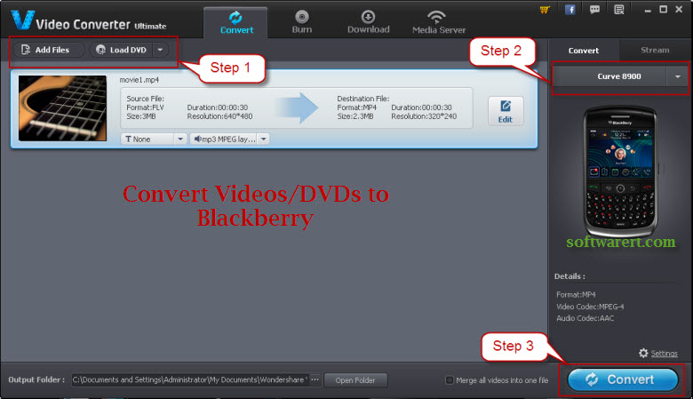 convert videos and dvd to blackberry