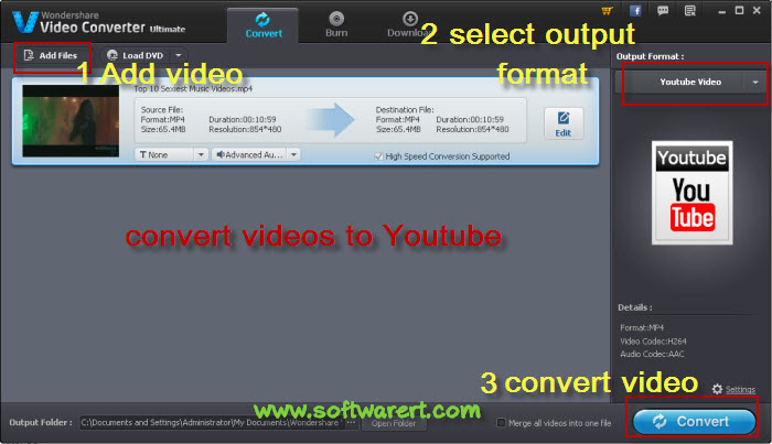 convert videos to youtube
