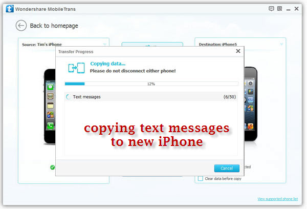 copy sms from iphone to iphone