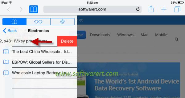 delete safari bookmarks on ipad