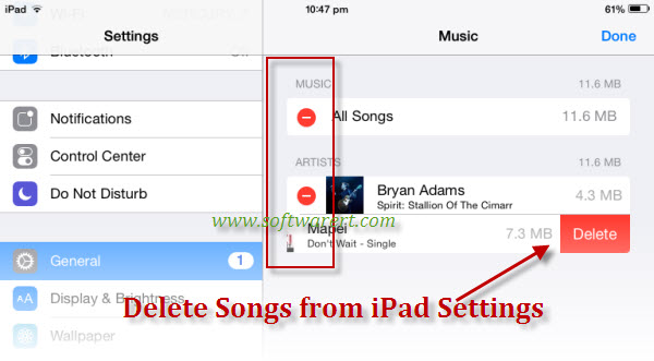 how to delete songs from spotify on ipad