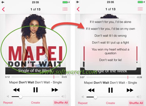 display songs' lyrics in iPhone music app