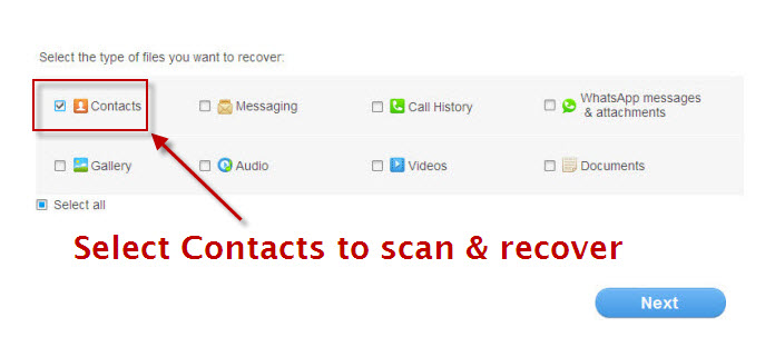 enable contacts recovery from android