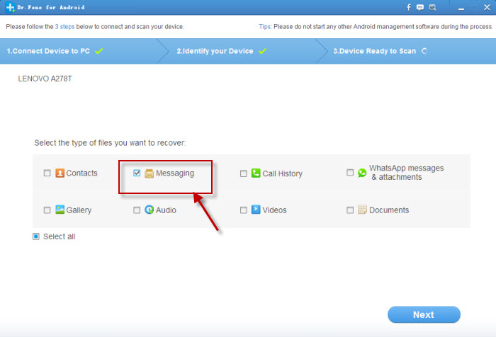 enable text messages recovery from lenovo mobile phone