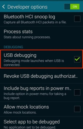 enable usb debugging samsung galaxy