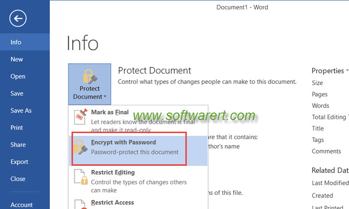 encrypt word document with password