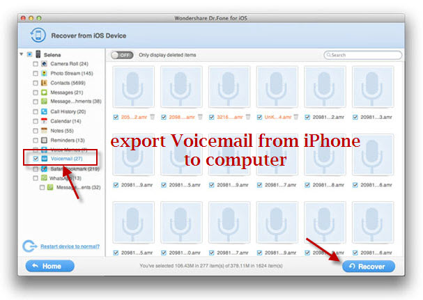 export Voicemail from iphone to computer