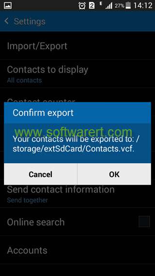 export contacts from samsung phone to sd card
