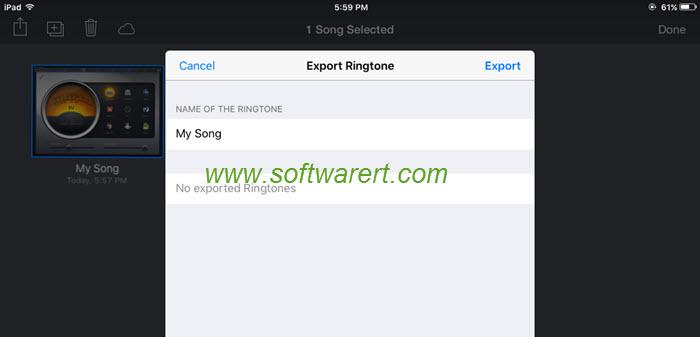 export ringtone from garageband on ipad