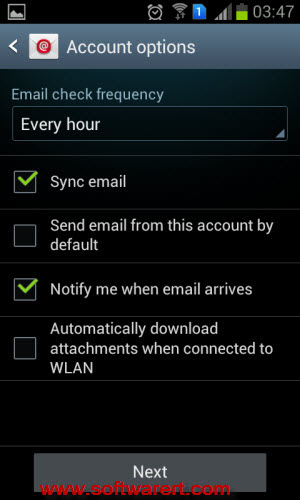 gmail account settings on samsung