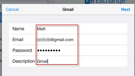 input gmail username password on ipad