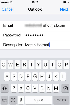 input hotmail username and password on iphone