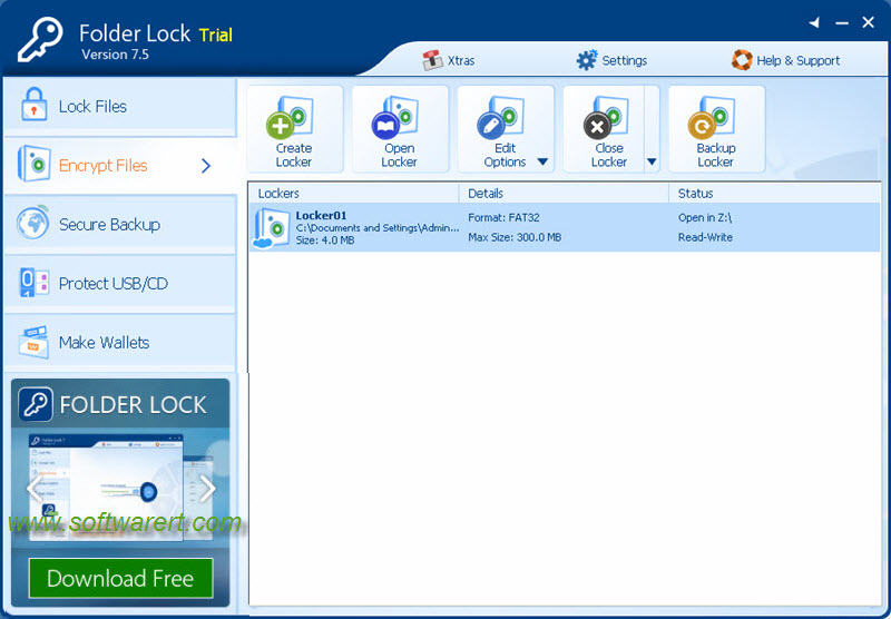 manage lockers in folder lock software