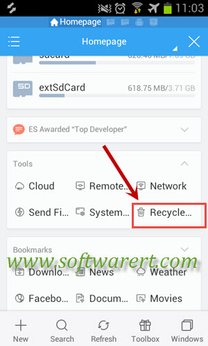 open recycle bin on android