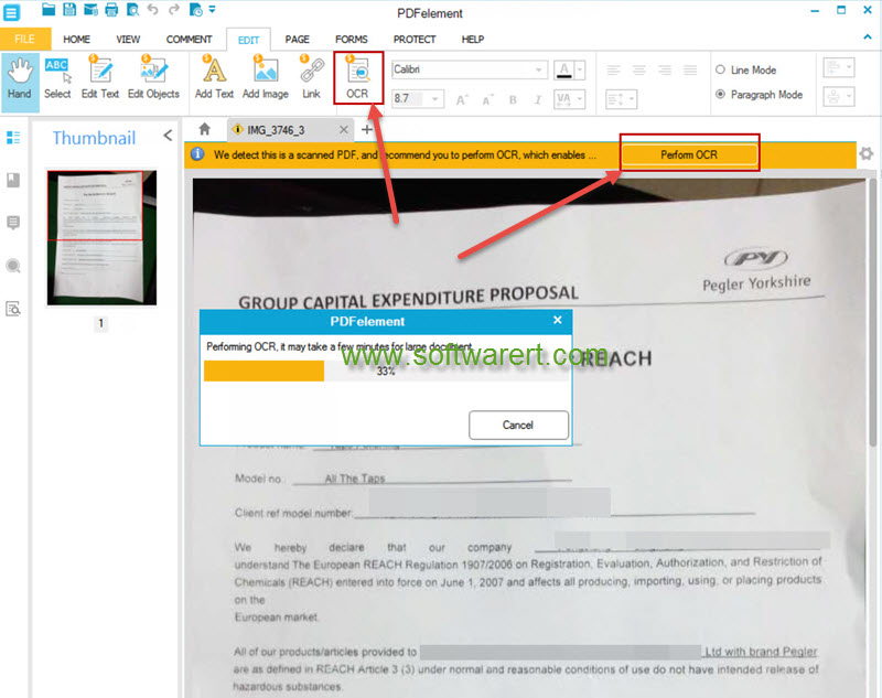 perform ocr on scanned pdf, documents, images using pdfelement