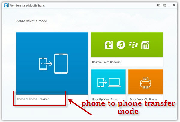 enter phone to phone transfer mode