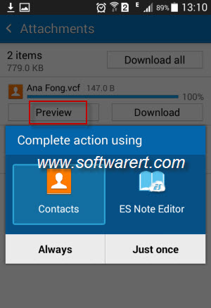 open and preview vcf contacts in email on samsung mobile