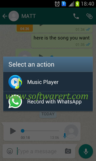 record audio and select music in whatsapp for android