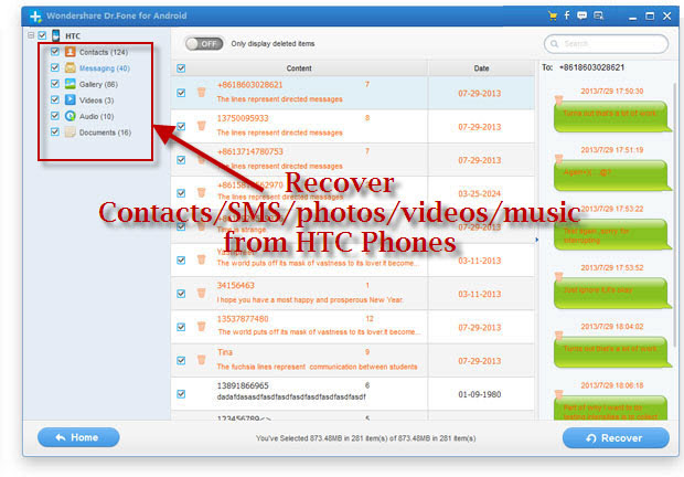 recover contacts sms and data from htc phones